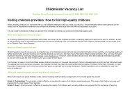 Childminder Vacancy List - Waltham Forest Council