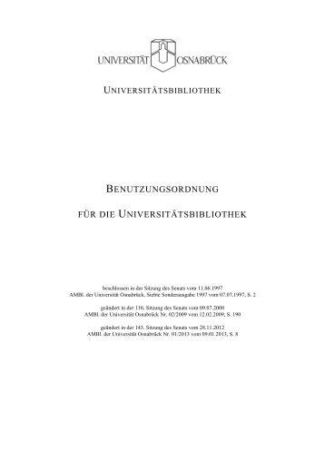 BENUTZUNGSORDNUNG FÜR DIE UNIVERSITÄTSBIBLIOTHEK