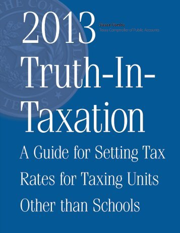 Truth-In-Taxation A Guide for Setting Tax Rates for Taxing Units