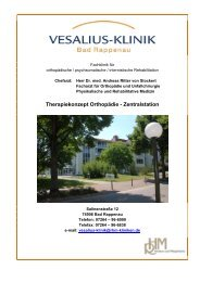 Therapiekonzept Orthopädie-Zentralstation - Vesalius-Klinik