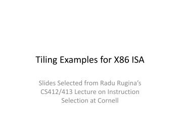 Tiling Examples for X86 ISA