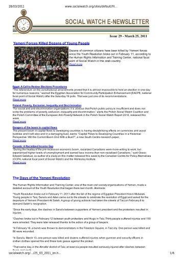 March 25, 2011 Yemeni Forces Killed Dozens of ... - Social Watch