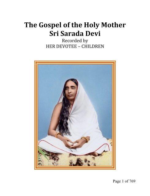 The Gospel of the Holy Mother Sri Sarada Devi - RKM Fiji