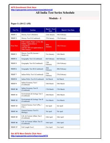 All India Test Series Schedule Module - 1 - upscportal