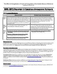 Discovery & Christian Awakening Retreats 2013 Application