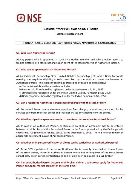 Download Faqs On Appointment And Cancellation Of Authorised