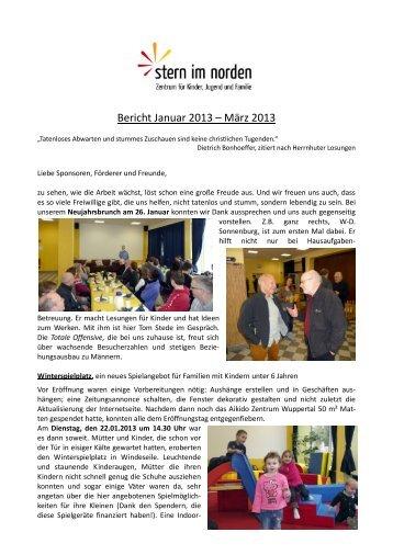 Bericht Januar 2013 – März 2013 - Stern im Norden eV