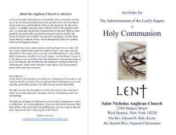 Holy Communion - Anglican Church of Saint Nicholas