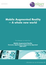 Mobile Augmented Reality ~ A whole new world - Juniper Research