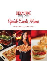 Special Events Menu - Lucky Strike Lanes