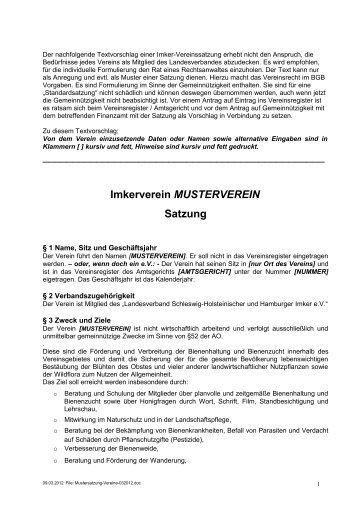 Imkerverein MUSTERVEREIN Satzung - Landesverband Schleswig ...