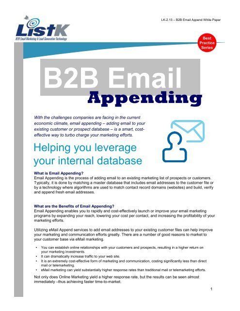 B2B Email Appending - List-K com