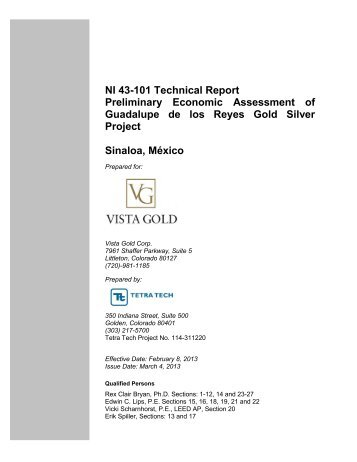 NI 43-101 Technical Report Preliminary Economic ... - Vista Gold Corp.