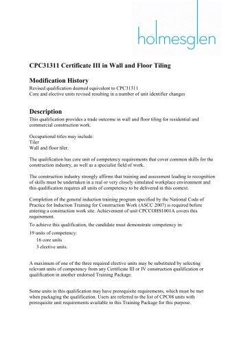 CPC31311 Certificate III in Wall and Floor Tiling - Australian Tile ...