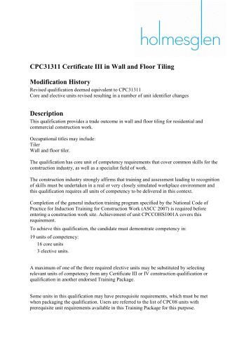 CPC31311 Certificate III in Wall and Floor Tiling - Australian Tile ...