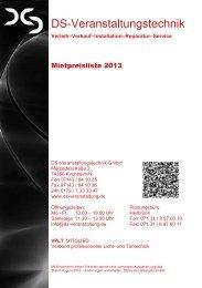 Preisliste (419,7 kB) - DS-Veranstaltungstechnik
