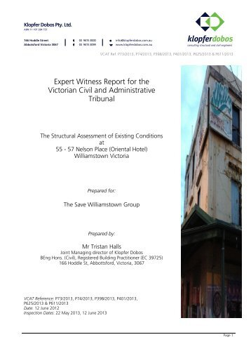 Expert Witness Report for the Victorian Civil and ... - Hobsons Bay