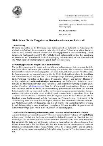 Richtlinien für die Vergabe von Bachelorarbeiten - Prof. Dr. Bernd ...