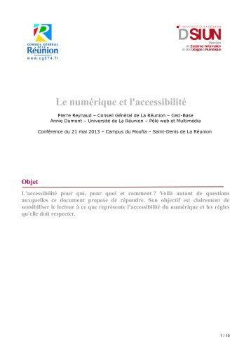 Le numérique et l'accessibilité - dsiun - Université de la Réunion