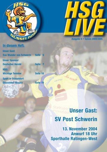Unser Gast: SV Post Schwerin - HSG Düsseldorf