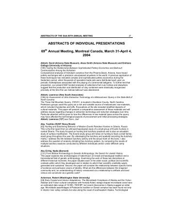 69th Annual Meeting Abstracts (Montreal, QC - 2004) - Society for ...