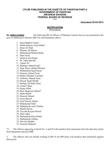 (TO BE PUBLISHED IN THE GAZETTE OF PAKISTAN PART-I ...