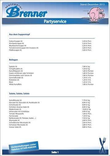 Partyservice-Angebote als PDF - Metzgerei Brenner