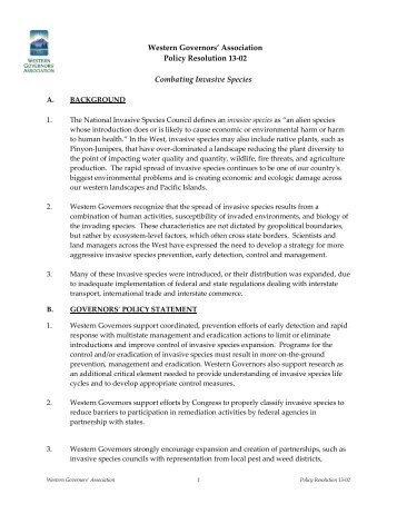 Combating Invasive Species - Western Governors' Association