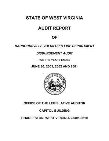 state of west virginia audit report - West Virginia Legislature