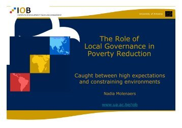 The Role of Local Governance in Poverty Reduction - VVSG