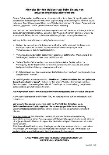 Hinweise für den Waldbesitzer beim Einsatz von privaten ...