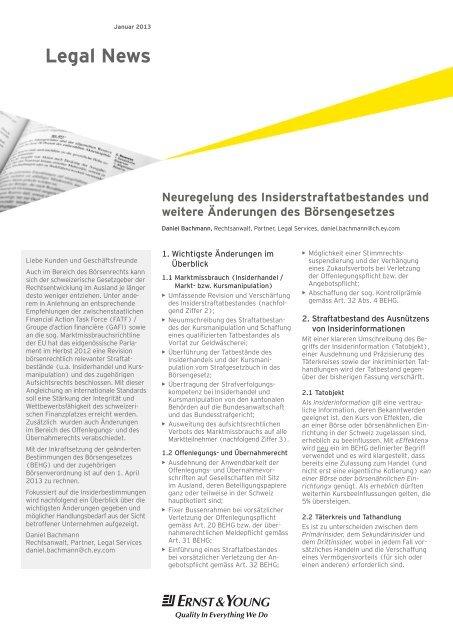 Legal News – Januar 2013 - Schweiz