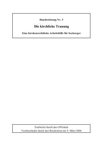 Die kirchliche Trauung, Handreichung für Seelsorger - Bistum Chur