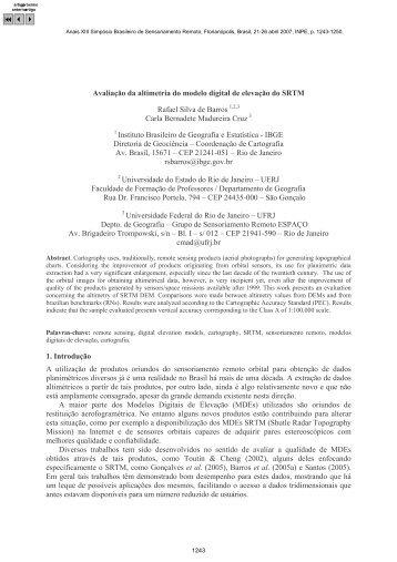 Avaliação da altimetria do modelo digital de elevação do SRTM