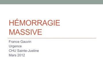 Protocole d'hémorragie massive - CHU Sainte-Justine - SAAC