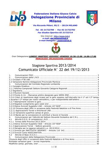 Comunicato Ufficiale N° 22 del 19/12/2013 - Informacalcio.it