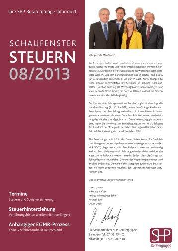 Mandantenzeitung August 2013 (1.4MiB) - SHP Beratergruppe