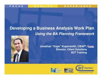 Developing a Business Analysis Work Plan - Pittsburgh