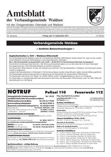 Kalenderwoche 37 - Verbandsgemeinde Waldsee