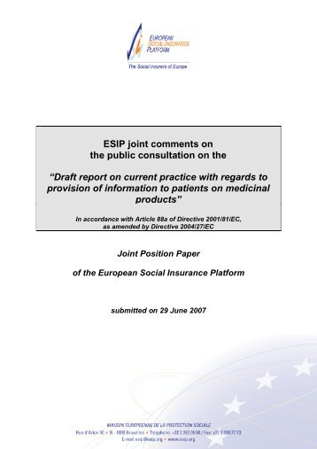 """ESIP joint comments on the public consultation on the """"Draft report ..."""