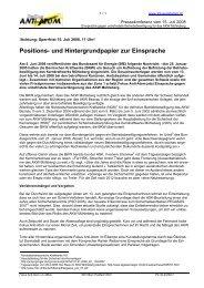 Positions- und Hintergrundpapier zur Einsprache - Fokus Anti-Atom