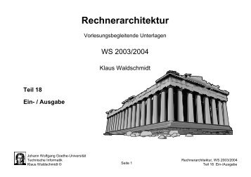 Rechnerarchitektur - Technische Informatik an der Universität ...