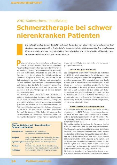 Schmerztherapie bei schwer nierenkranken Patienten