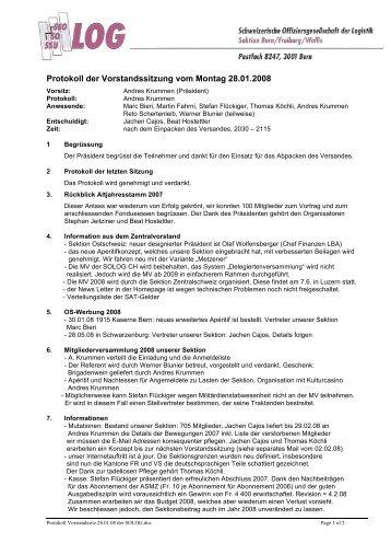 Protokoll der Vorstandssitzung vom Montag 28.01.2008