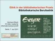 Ethik in der bibliothekarischen Praxis ... - OPUS Bayern