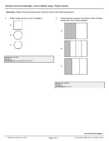 Common Core-First Grade Math » Form A (Master Copy) » Teacher ...