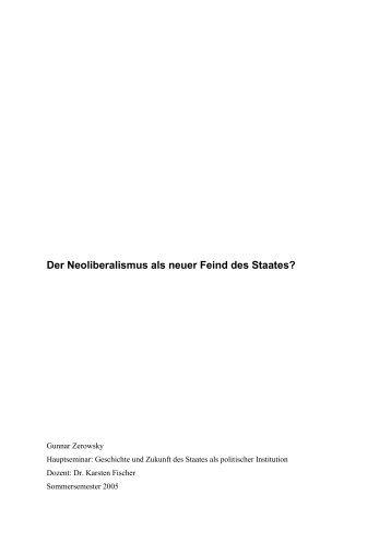 Der Neoliberalismus als neuer Feind des Staates? - akj-berlin