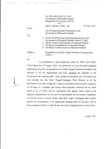 Regularization of Daily Waged Workers/Contingent Paid Workers