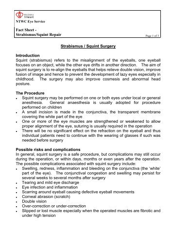 Fact Sheet - Strabismus/Squint Repair Strabismus / Squint Surgery ...