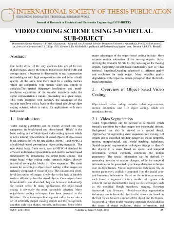 VIDEO CODING SCHEME USING 3-D VIRTUAL SUB-OBJECT